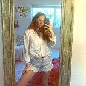 Anthropologie white button down blouse